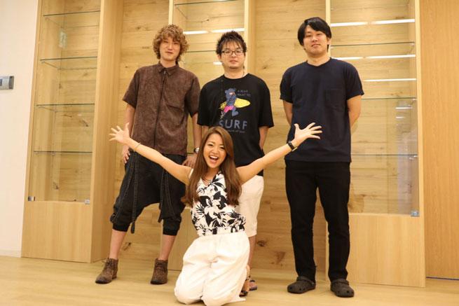 (中央:代表取締役 松田和彬さん、左:取締役CTO 永石裕樹さん、右:プロデューサー田辺康樹さん)